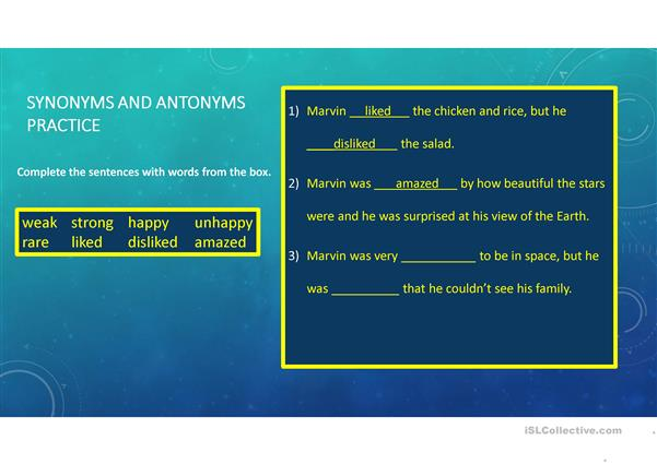 Adventures in Space -- Synonyms, Antonyms, and Frequency - English ESL Powerpoints for distance