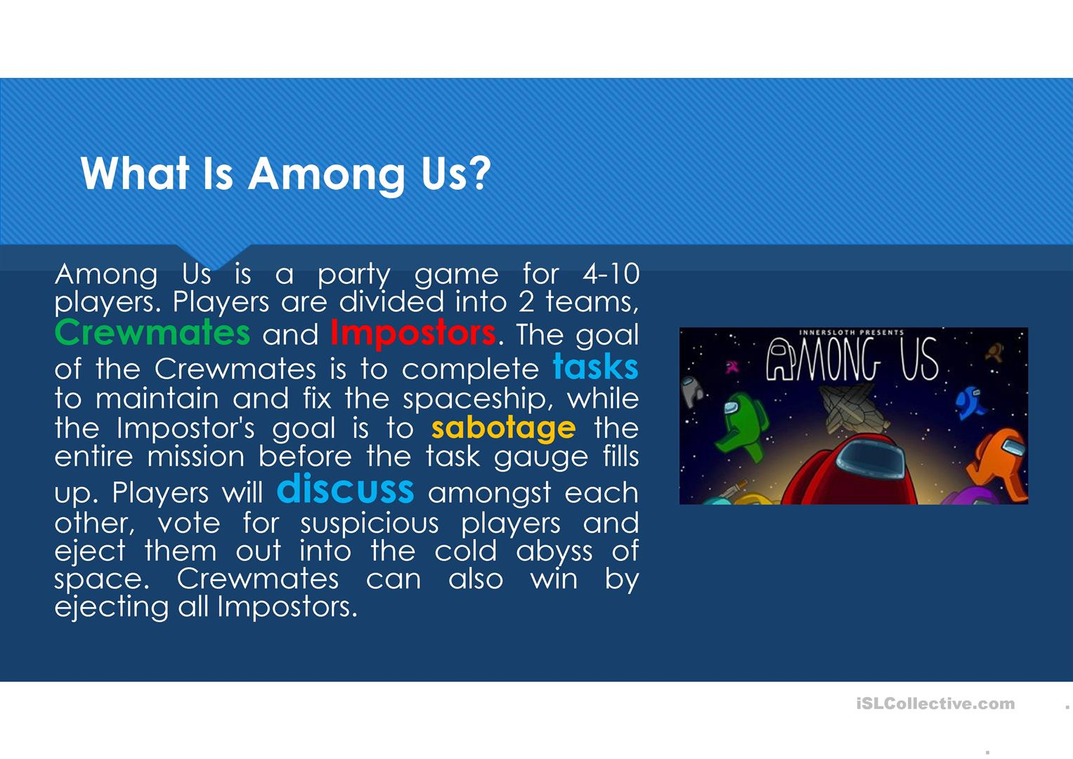 Among Us English Esl Powerpoints For Distance Learning And Physical Classrooms