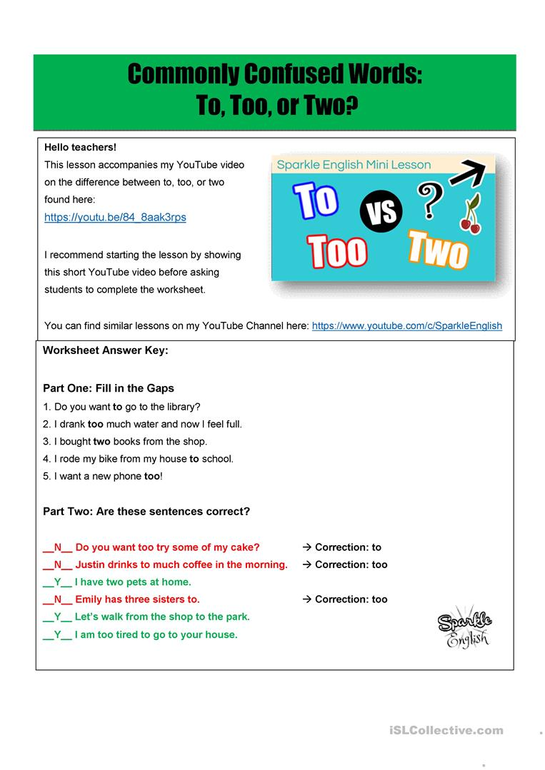 To, Too, or Two? - Commonly Confused Words Homophones / Homonyms With To Too Two Worksheet