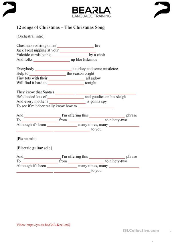 The Christmas Song - worksheet and video (with answer key)