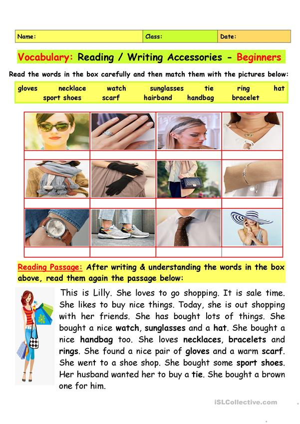 Vocabulary: Accessories Reading/ Writing - Beginners
