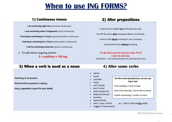 When to use ING FORMS