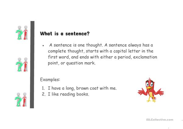 The four different types of sentences