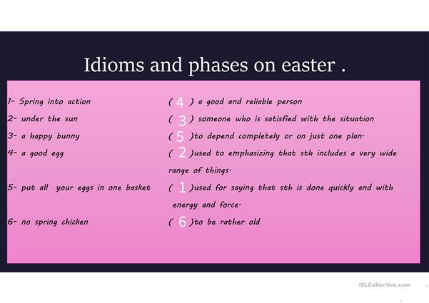 easter A2 over this activity can teach students about easter words and celebrations. idioms and phrases also are included all with answer keys. https://vimeo.com/160366812